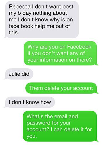 Facebook text 2